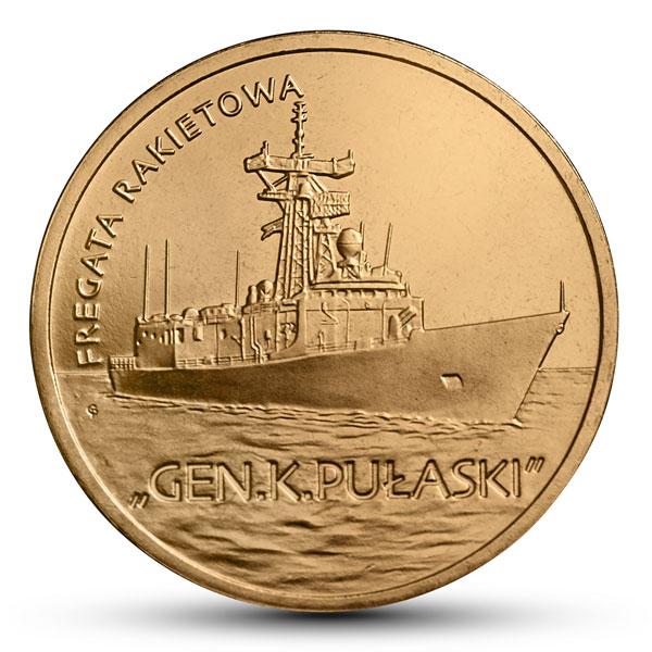 """Polskie okręty - Fregata rakietowa """"Gen. K. Pułaski"""", 2zł rewers"""