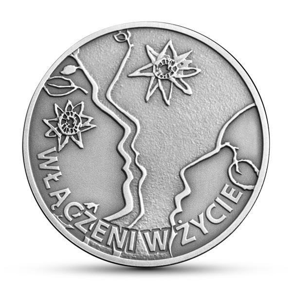 50-lecie działalności Polskiego Stowarzyszenia na Rzecz Osób z Upośledzeniem Umysłowym, 10zł rewers